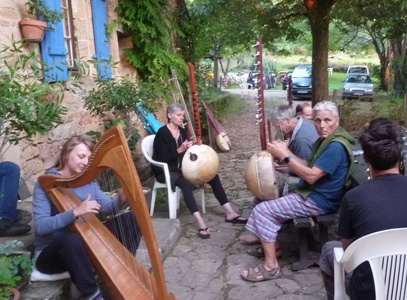 Harp being played with koras
