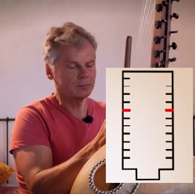Adam playing kora with explanatory bridge image superimposed