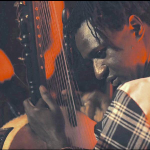 Close-up of Jali Bakary Konteh playing kora