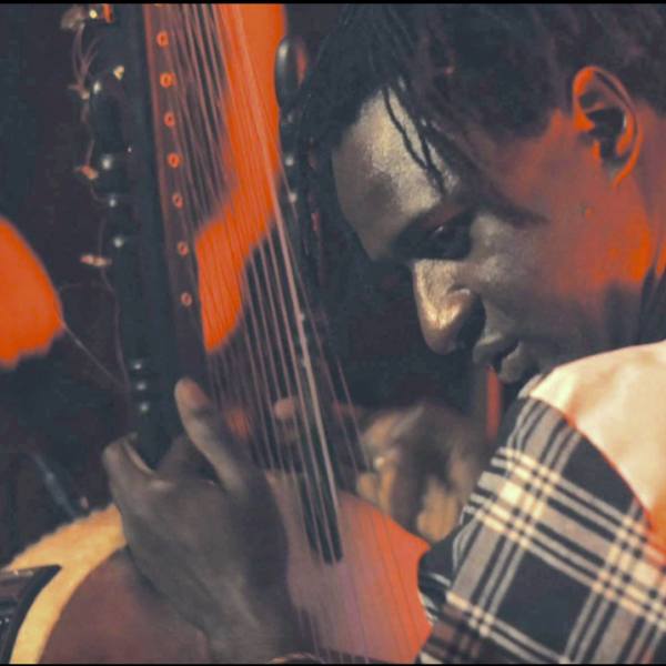 Close-up of Jali Bakary Konteh playing kora